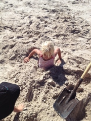 Abbey buried at the beach