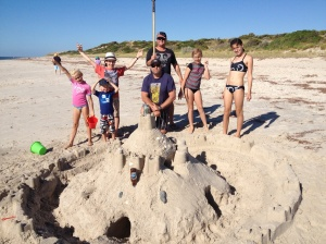 The fun that can be had at the beach with a shovel, a couple of buckets and six young imaginations.